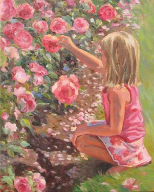 Little girl picking pink flowers
